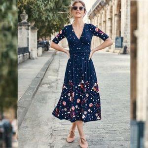 Boden   Fit & Flare Floral Polka Dot Midi Dress